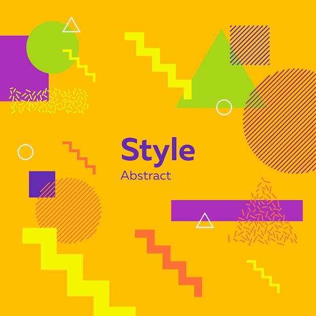 Amarillo moderno abstracto con figuras geométricas vector gratuito