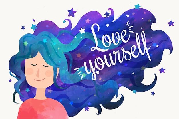 Ámate a ti mismo cita y mujer con cabello de cielo nocturno vector gratuito