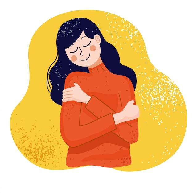 Ámate a ti mismo concepto, mujer abrazándose a sí misma, ilustración Vector Premium