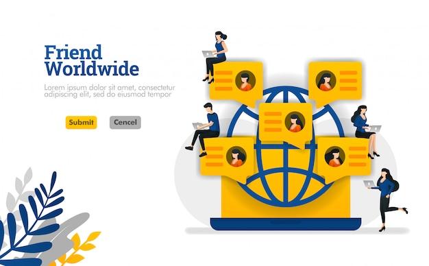 Amigo en todo el mundo por concepto de ilustración vectorial de comunidad, redes sociales, fiestas y grupos. Vector Premium