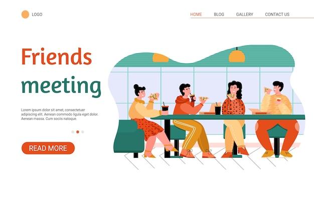 Amigos comiendo en la pizzería - banner de sitio web con gente en café Vector Premium