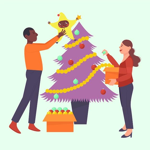 Amigos decorando el árbol de navidad vector gratuito