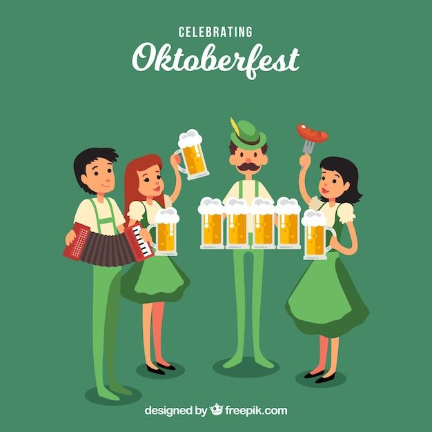 Amigos felices celebrando el oktoberfest vector gratuito