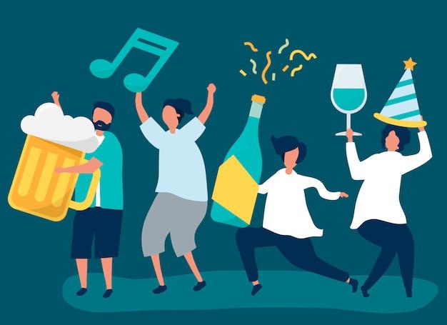 Amigos de fiesta y bebiendo diferentes bebidas. vector gratuito