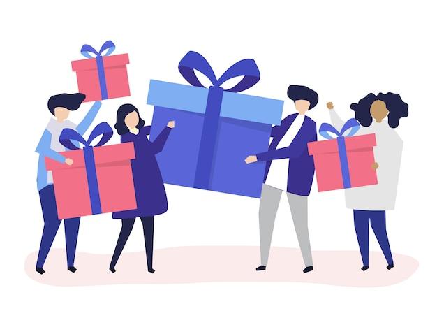 Amigos intercambiando cajas de regalos entre ellos. vector gratuito