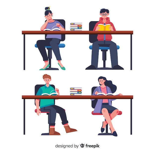 Amigos leyendo juntos ilustrados vector gratuito
