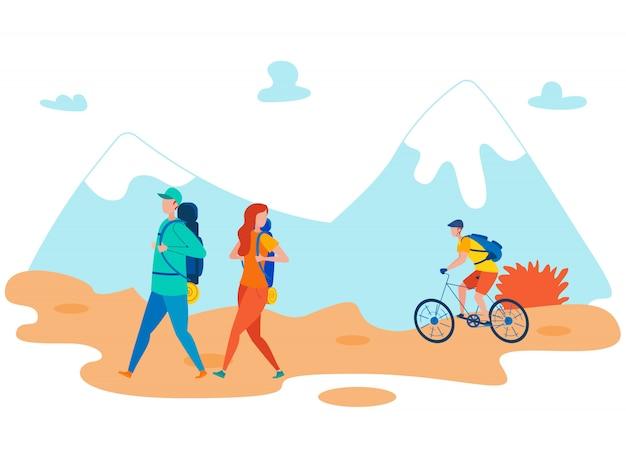 Amigos mochilero vacaciones plana ilustración Vector Premium