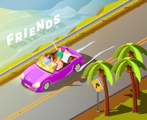 Amigos que montan el coche cartel isométrico del viaje vector gratuito