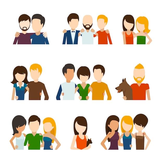 Amigos y relaciones amistosas ambientadas en estilo plano. vector gratuito