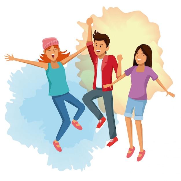 Amigos saltando de dibujos animados | Descargar Vectores