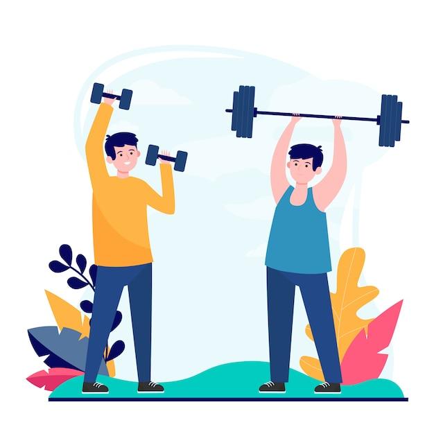 Amigos varones haciendo ejercicio en el gimnasio juntos vector gratuito