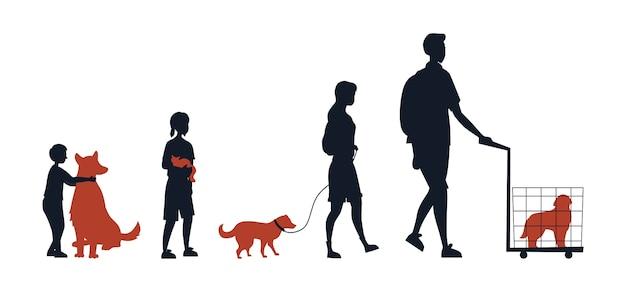 Amistad entre animales y personas. grupo de siluetas de personas con niños con sus animales domésticos. la gente cuida a las mascotas. el hombre lleva el perro en la jaula. Vector Premium