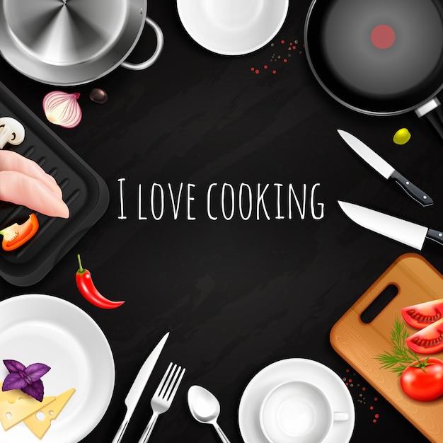Amo cocinar fondo realista vector gratuito