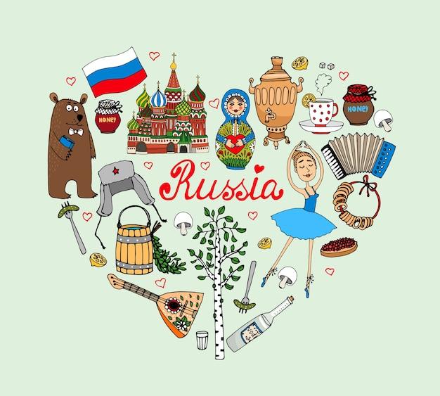 Amo la ilustración de corazón de vector de rusia con iconos culturales vector gratuito