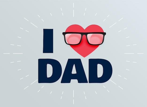 Amo a papá el día de padres de fondo vector gratuito