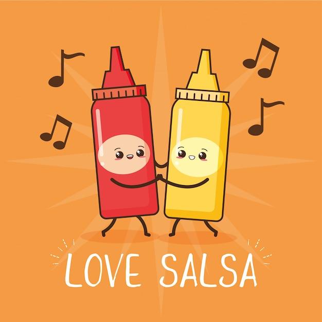 Amor bailando salsa, ilustración vector gratuito