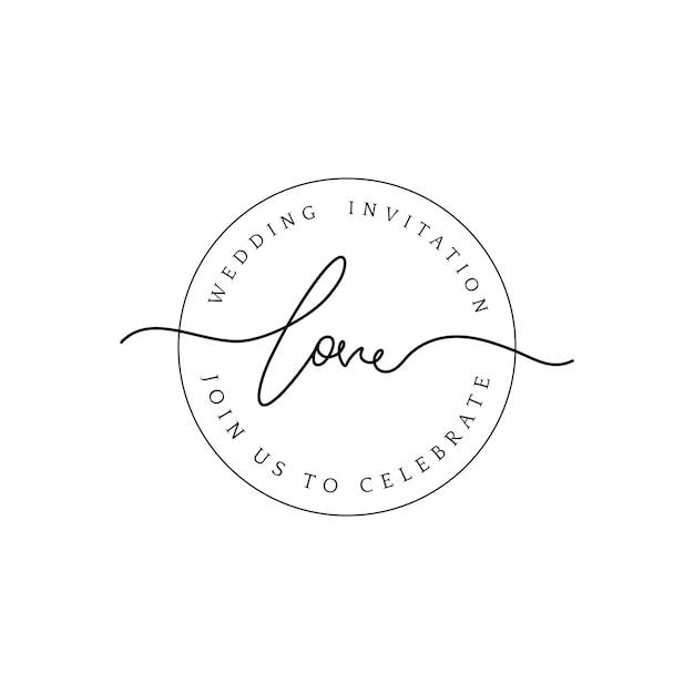 Amor boda invitación insignia diseño vectorial vector gratuito
