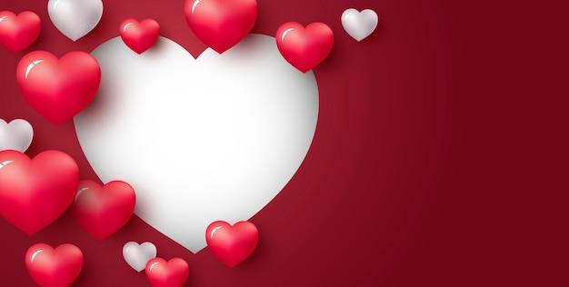 Amor concepto de corazón sobre fondo rojo Vector Premium