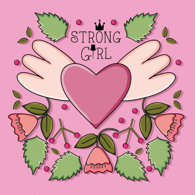 Amor de corazón con alas y rosas estilo pop art Vector Premium