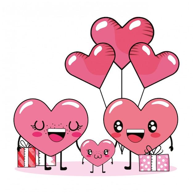 Amor Corazon Pareja Dibujos Animados Vector Premium
