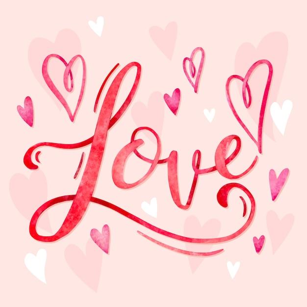 Amor con corazones buenas letras vector gratuito