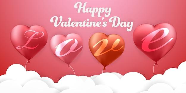 Amor el día de san valentín y globos de fondo rojo Vector Premium