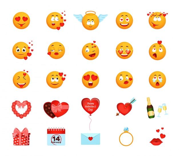 Amor emoji con ilustración de corazones, emoticon de cara amarilla de dibujos animados hacer emociones amorosas, colección de san valentín Vector Premium