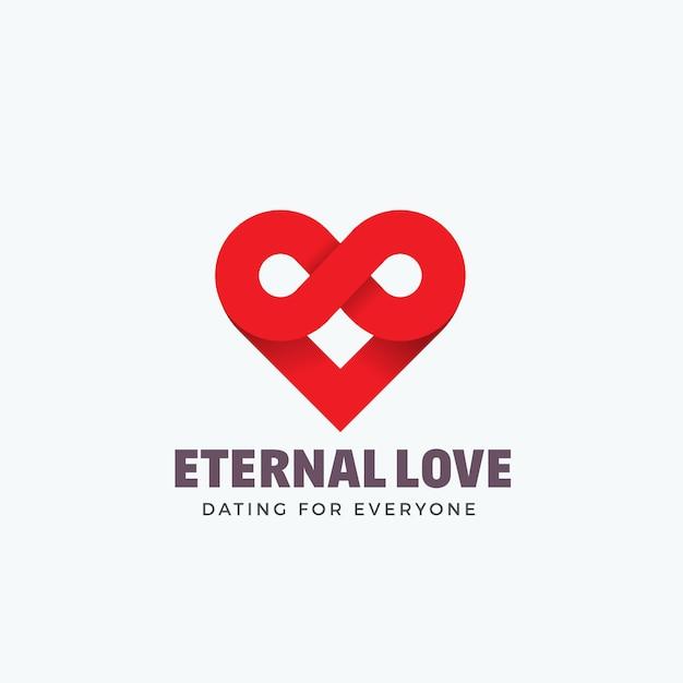 Amor eterno, emblema o plantilla de logotipo. símbolo de infinito y mezcla de icono de corazón. concepto creativo silueta. Vector Premium