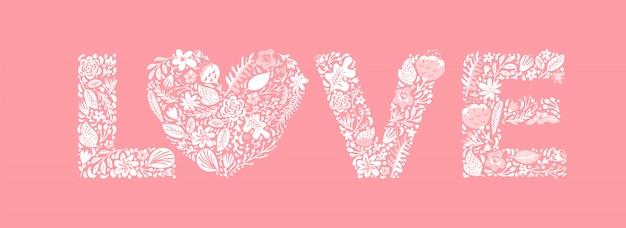 Amor floral lindo de la palabra. capital de la boda de la boda letras mayúsculas Vector Premium