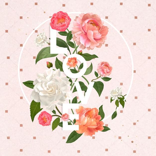 Amor y flores vector gratuito