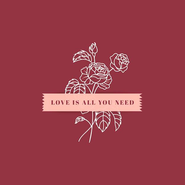 Amor inspirador texto vector gratuito