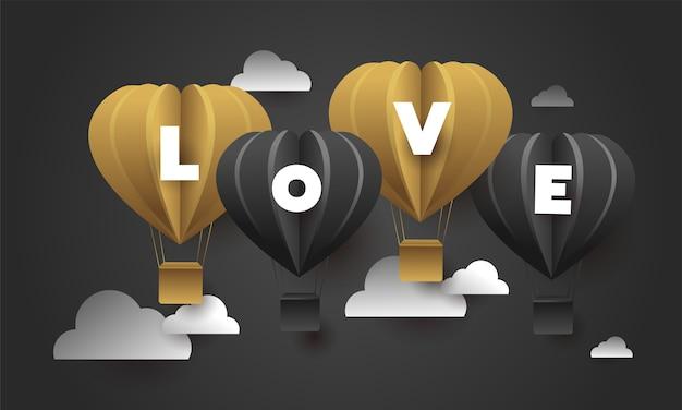Amor De La Letra Con Los Globos Del Corazón En Fondo Negro