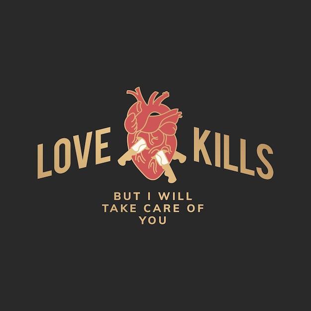 El amor mata a la ilustración vector gratuito