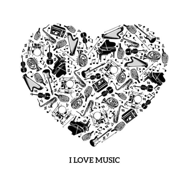 Amor musica concepto vector gratuito