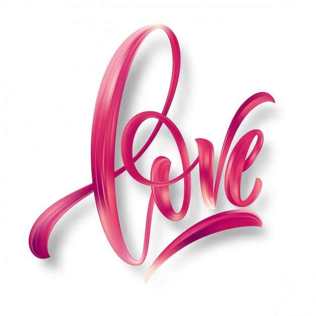Amor palabra letras dibujadas a mano. Vector Premium