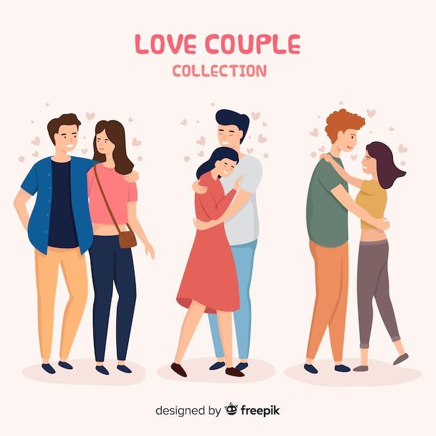 Amor pareja abrazándose colección de personas vector gratuito