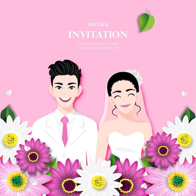 Amor pareja el día de la boda Vector Premium