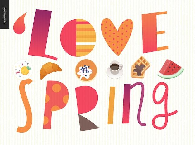 Amor, primavera, desayuno. composición de letras. Vector Premium