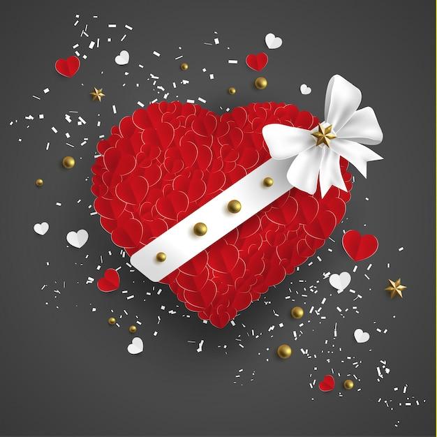 Amor en rojo hay una cinta blanca Vector Premium