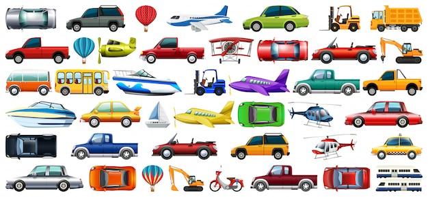 Amplio conjunto de transporte. vector gratuito