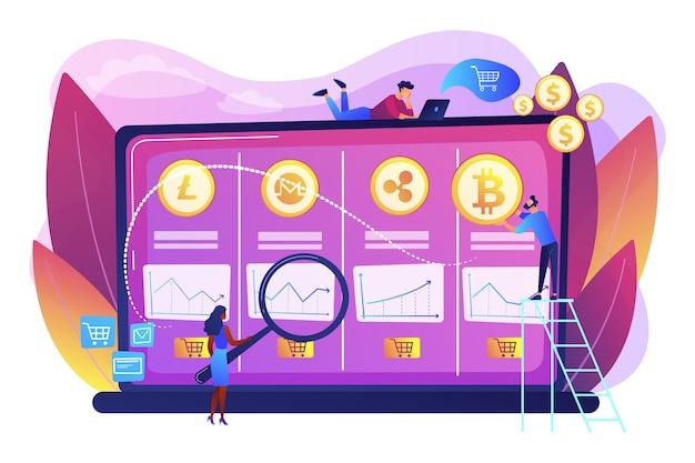 Análisis de datos económicos, cálculo del valor de mercado. mesa de operaciones de criptomonedas, plataforma de futuros de bitcoin, concepto de servicios de intercambio de criptomonedas oficiales. vector gratuito