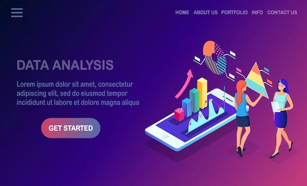 Análisis de los datos. informes financieros digitales, seo, marketing. gestión empresarial, desarrollo Vector Premium