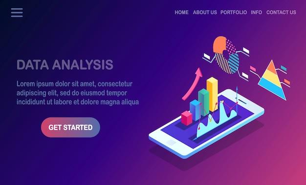 Análisis de los datos. informes financieros digitales, seo, marketing. Vector Premium