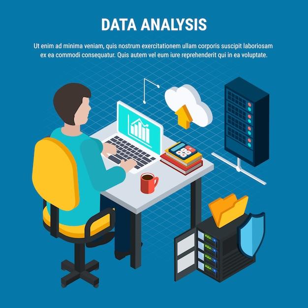 Análisis de datos isométricos vector gratuito