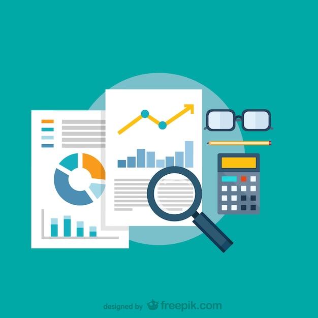 Análisis de datos con lupa Vector Premium