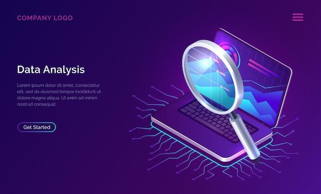 Análisis de datos de optimización de motores de búsqueda isométrica vector gratuito