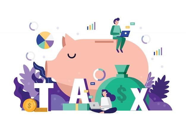 Análisis de equipo de negocios y datos fiscales de estrategia en el plazo de tiempo de impuestos. Vector Premium