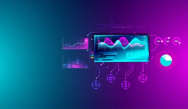 Análisis de estadísticas financieras en smartphone. Vector Premium