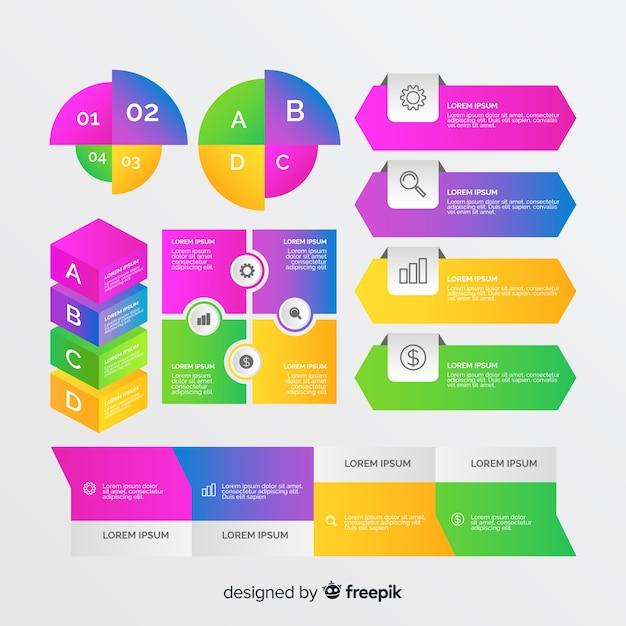 Análisis de mejora empresarial con gráficos vector gratuito