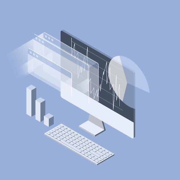 Análisis del mercado de valores en el monitor de la computadora Vector Premium